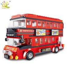 HUIQIBAO 398 sztuk czerwony piętrowy autobus klocki ulica miasta widok figurki autobus samochód cegły zabawki dla dzieci prezenty
