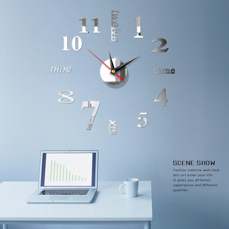 3D Stereo Acrylic Digital Mirror Wall Sticker Wall Clock Self-Adhesive Art Decal Wall Clocks Home Decor Wall-mounted Clock Watch