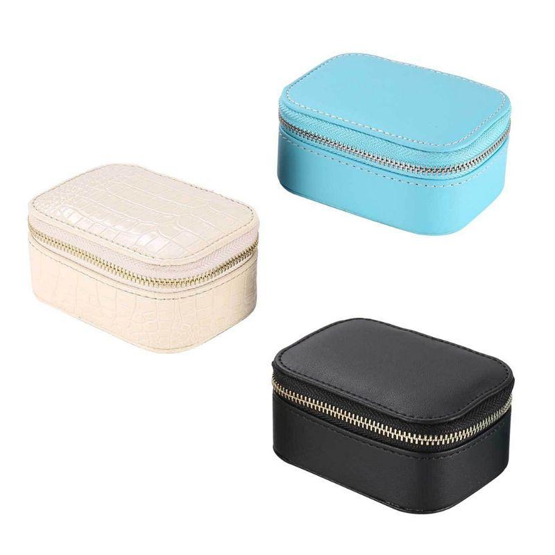 Simple Jewelry Box Faux PU Leather Earrings Necklace Bracelet Storage European Style Portable Travel Jewellery Organizer