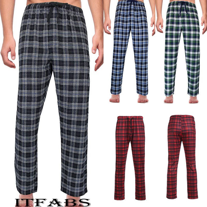 Men's Loose Sleep Bottoms Plaid Flannel Lounge/Pajama PJ Pants Size M 2XL Bottoms Casual Pants Sleepwear Underwear