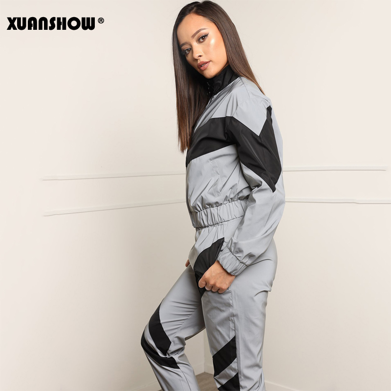 XUANSHOW Fashion Reflective Tracksuit Women Zipper Crop Tops Long Pants 2 Piece Set Jogging Femme Clothes Jacket Trousers S-XXL