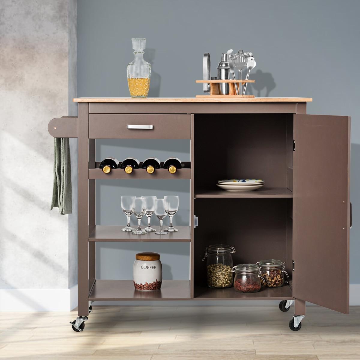 Costway Kitchen Island Trolley Cart Wood Top Storage Cabinet w/ Wine Rack & Shelf Brown