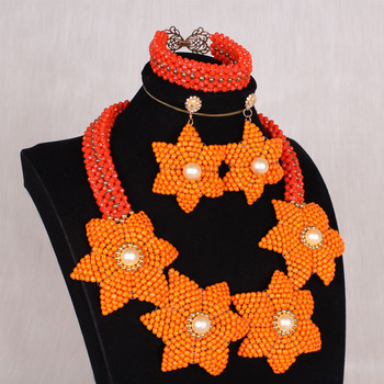 4uJewelry African Wedding Beads Jewelry Set Craft Flowers Orange Nigerian Necklace Set For Women 2020 Fashion Crystal Party Set