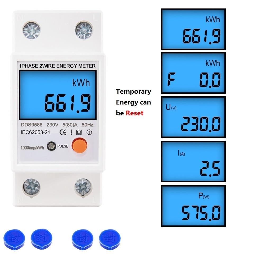 Din-рейка Однофазный сброс нулевой счетчик энергии кВт/ч Напряжение Ток Потребляемая мощность Счетчик электроэнергии 220 В-230 В переменного то...