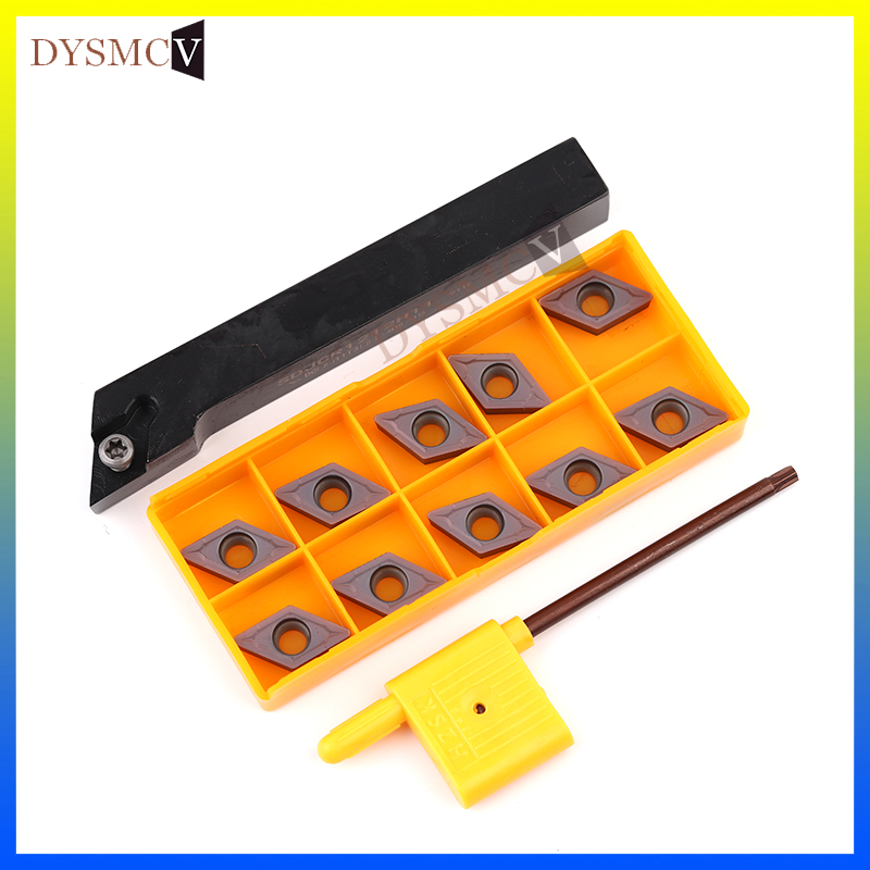1pcs SDJCR1212 SDJCL1212H11 And DCMT11T304 DCMT11T308 Carbide Insert HSS Turning Tool Turning Lathe Cutting Tool Set