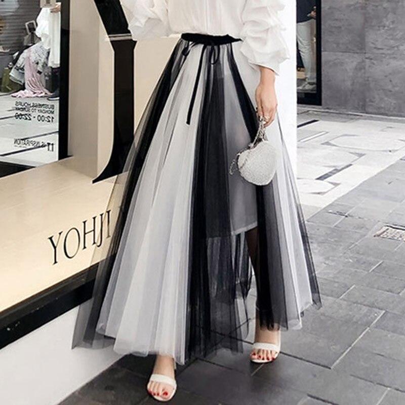 2020 New Summer Vintage Skirt Womens Elastic High Waist Tulle Skirts Long Beach Mesh Skirt Female Spring Women Skirts