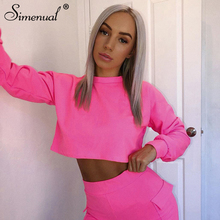 Simenual Solid Autumn Women Sweatshirt Casual Fashion Neon Long Sleeve Crop Tops Workout Sportswear Basic Slim 2019 Hoodies Sale