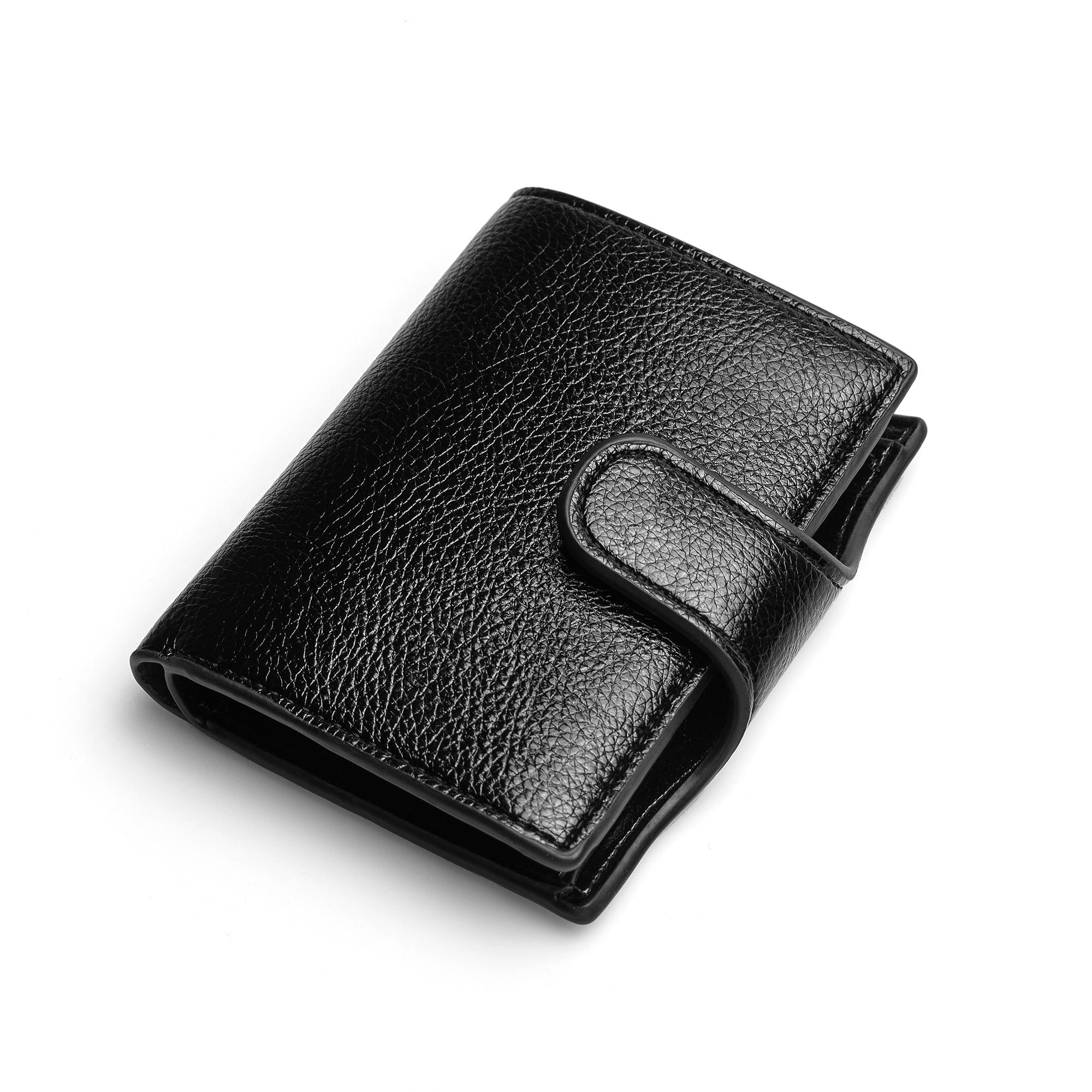 BISI GORO 2021 Wallet Women Small Unisex Vintage Solid Money Bag PU Leather Men Card Holder Smart Slim RFID Ladies Card Case