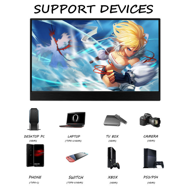 15.6inch Portable Monitor Touchscreen IPS 1080P HDR Gaming Monitor USB C HDMI-compatibe for Switch Smartphone Laptop PS4 XBOX 6