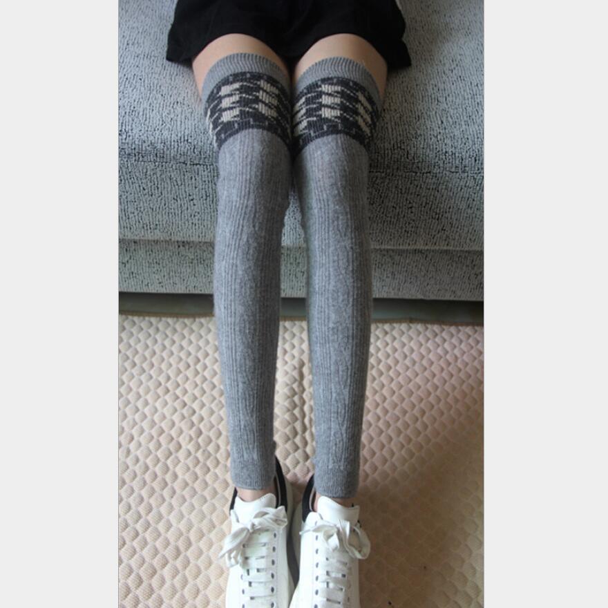 Women Solid Houndstooth Wool Blended Leg Warmer Snowflake Leg Warmer Geometric Leg Warmer Girls Stripes Leg Warmer Winter Socks