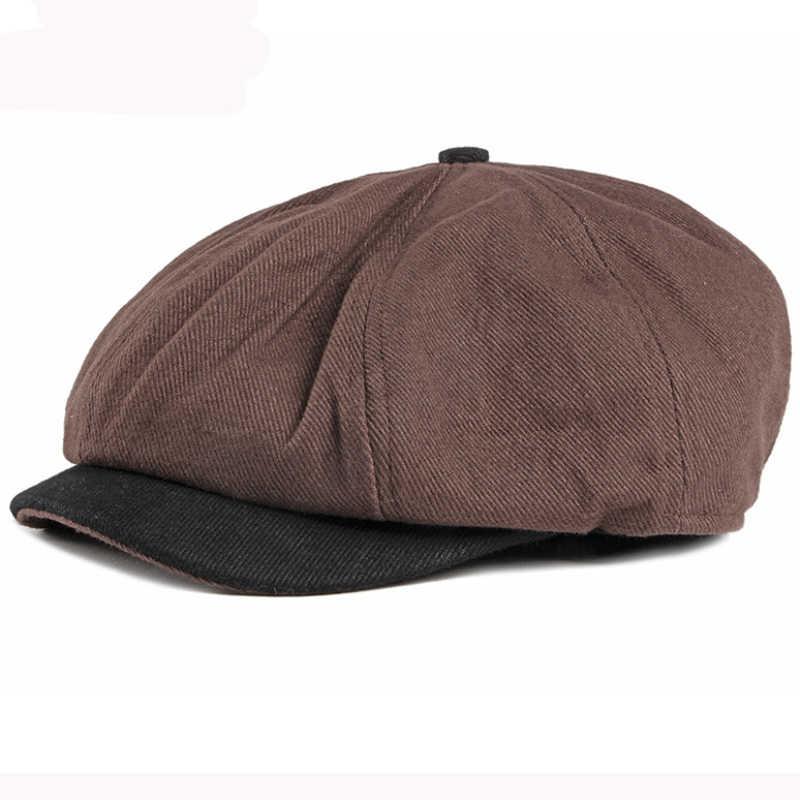 HT2885 Baret Vintage Katun Topi Baret Retro Oktagonal Tukang Koran Topi Musim Semi Musim Gugur Seniman Pelukis Topi Patchwork Pria Wanita Topi Baret