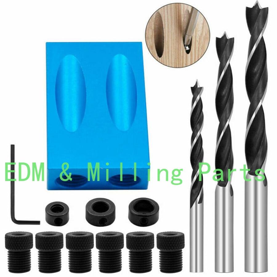 14pcs/set 15 Degree CNC DIY Pocket Hole Screw Jig Dowel Drill Carpenters Woodworking Tools Locator