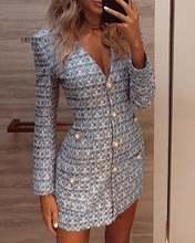 Однобортное платье блейзер с длинными рукавами; элегантное codycon
