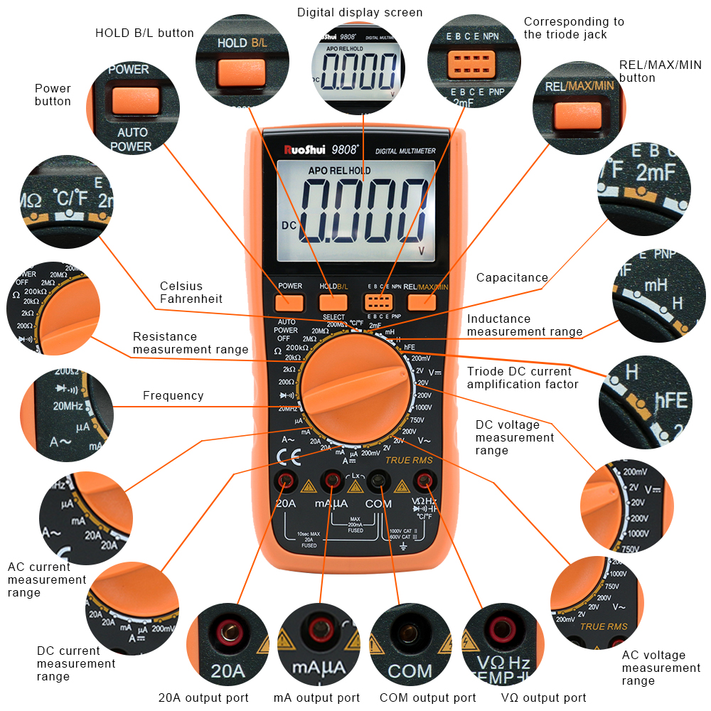 Inductance 2000uF And Capacimeter Precision Measuring 9808  LCR High Digital 10MHz Multimeter Frequency Temperature With RuoShui