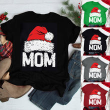 2019 New Style Christmas MOM Print T-Shirt Women Fashion O-neck Short Sleeve Casual Cute Comfortable Holiday Women T-Shirt M1018(China)