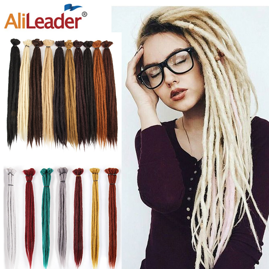 Alileader 52Colors Pink Red 20inches Soft Ombre Handmade Dreadlocks Hair for Dreads Synthetic Faux Hair Extensions For Men Women