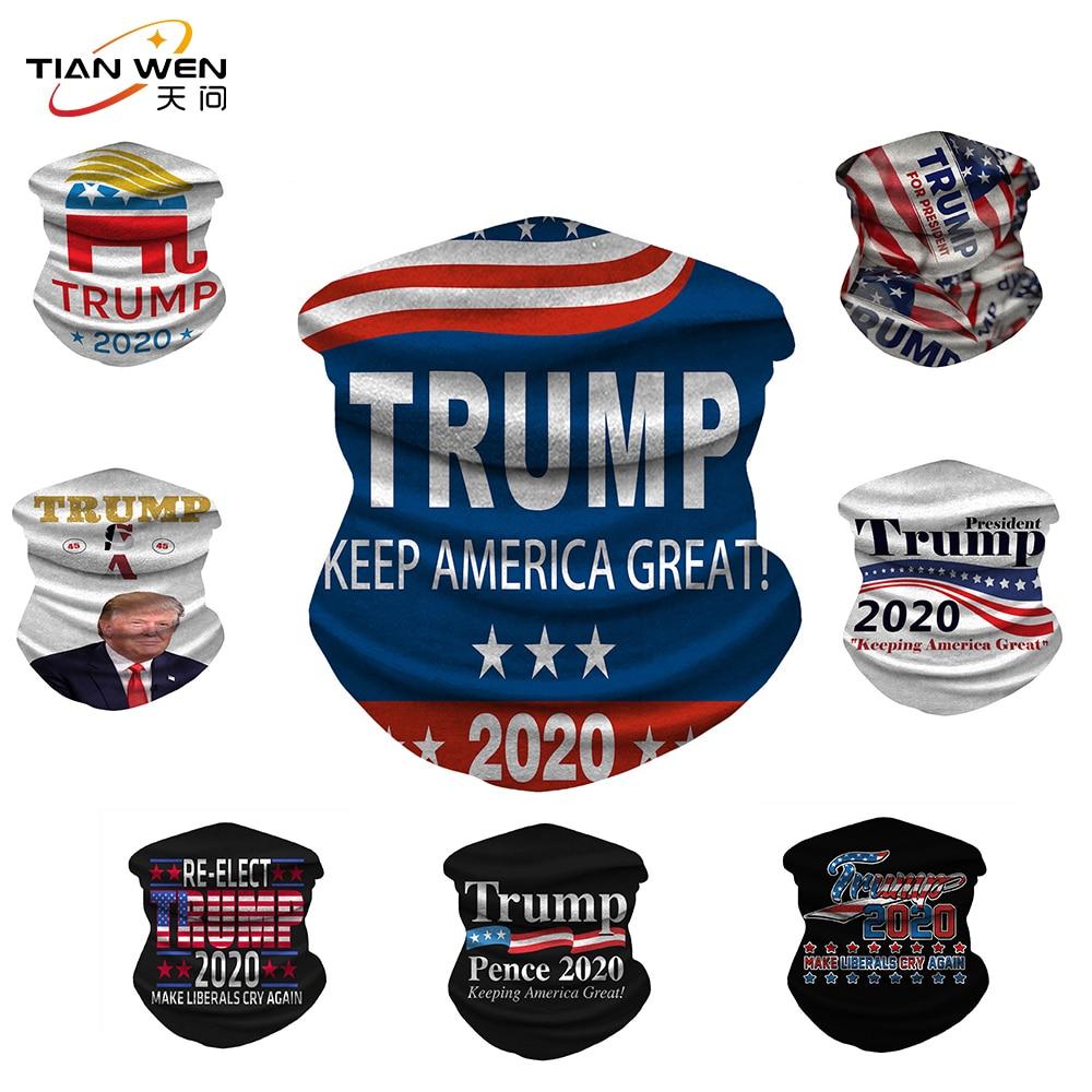 Trump 2020 Flags Ice Silk Fabric Cycling Bike Bicycle Riding Scarf Variety Magic Headband Veil Scarves Face Mesh Bandanas Mask(China)