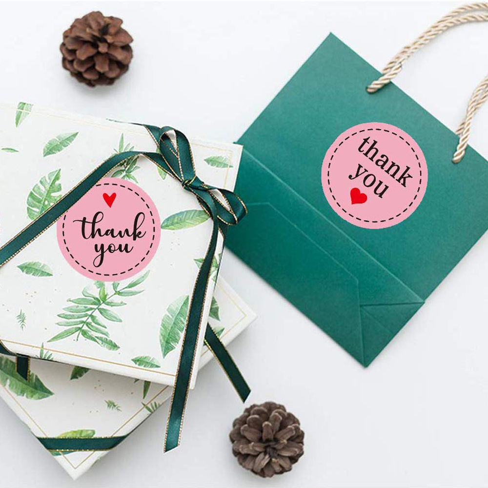 Купить с кэшбэком Pink Thank You Sticker 1.5 Inch 500pcs Cute Package Decoration Label and Shopping Bag Gift Package Card Envelope Seal Label