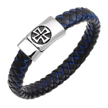 Man's Jewelry Gift Genuine Braided Cross Leather Cuff Bracelet Magnet Clasp for Men Religious Christian Stainless Steel Bangle