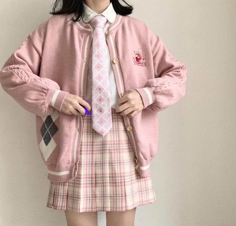 Women Sweet Strawberry Juice Embroidery Coat Spring New Soft Sister Outwear Girls Rhomboids Knitten Cardigan Jacket Preppy Style