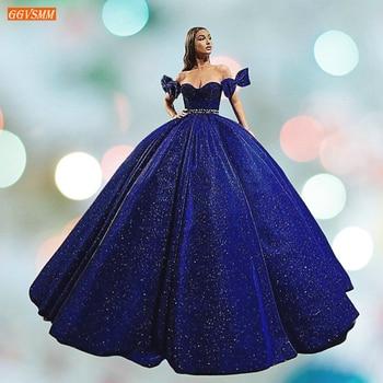 Vestido de noche azul real oscuro brillante azul largo 2020 fuera del hombro vestido de bola mujeres vestidos formales banquete hecho a medida vestidos de noche
