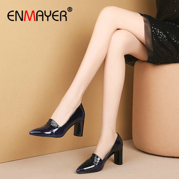 ENMAYER 2020 Elegant Women Shoes Pointed Toe Slip-On Patent Leather Wedding Shoes Square Heel Shallow High Heel Women Pumps 43