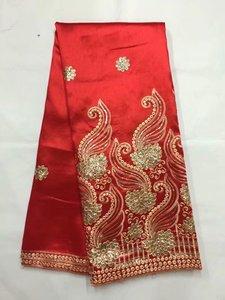 Горячая Распродажа, кружевная ткань с золотыми блестками в африканском стиле, французский кружевной материал для праздничного платья FB106, 5 ...