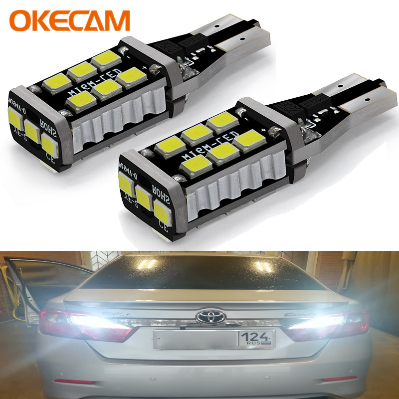 2X Canbus T15 W16W 2835 SMD 15 LED 15W Car Backup Reverse High Stop Light White Rear Lamp Bulb for Toyota Corolla Camry Prado(China)