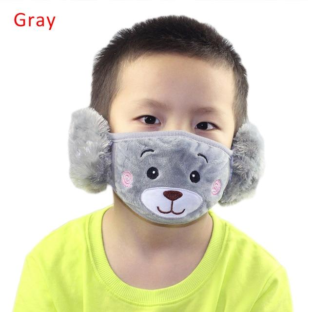 Cute bear Ear Protective Kid Mouth Mask Flu Windproof Mouth-muffle Anti Dust Winter Masks Children Anti Haze Cotton Face Mask 1