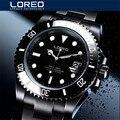 LOREO Marke Wasser Geist Tauchen Serie Schwarz Zifferblatt Luxus Männer Automatische Uhren 316L Stahl 200m Wasserdichte Mechanische Uhr Herren