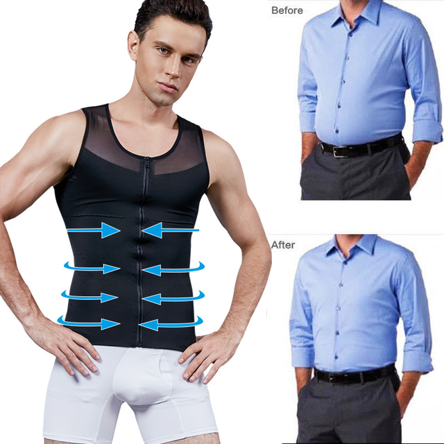 Men Slimming Body Shaper Bodysuit Compression Shirts Waist Trainer Corrective Posture Sweat Vest Corset Man Belly Belt