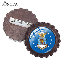 Estados unidos da força aérea metal pinos broche de madeira alta qualidade usar usaf usmc uscg símbolo emblemas comemorativos dropship