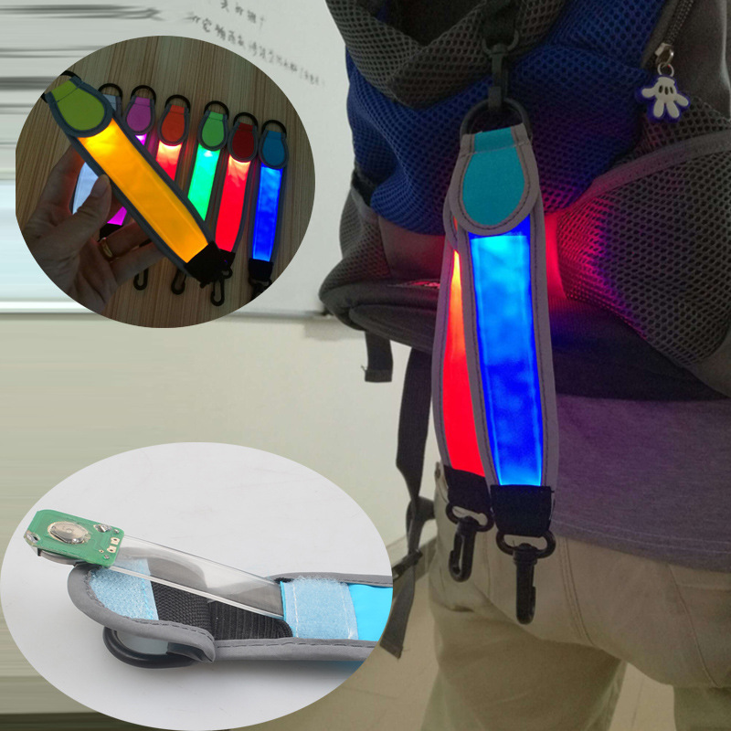 Outdoor Luminous Backpack Strap Versatile 7 Color Waterproof Cloth Material Button Battery Powered Hooking Distress Signal Lamp