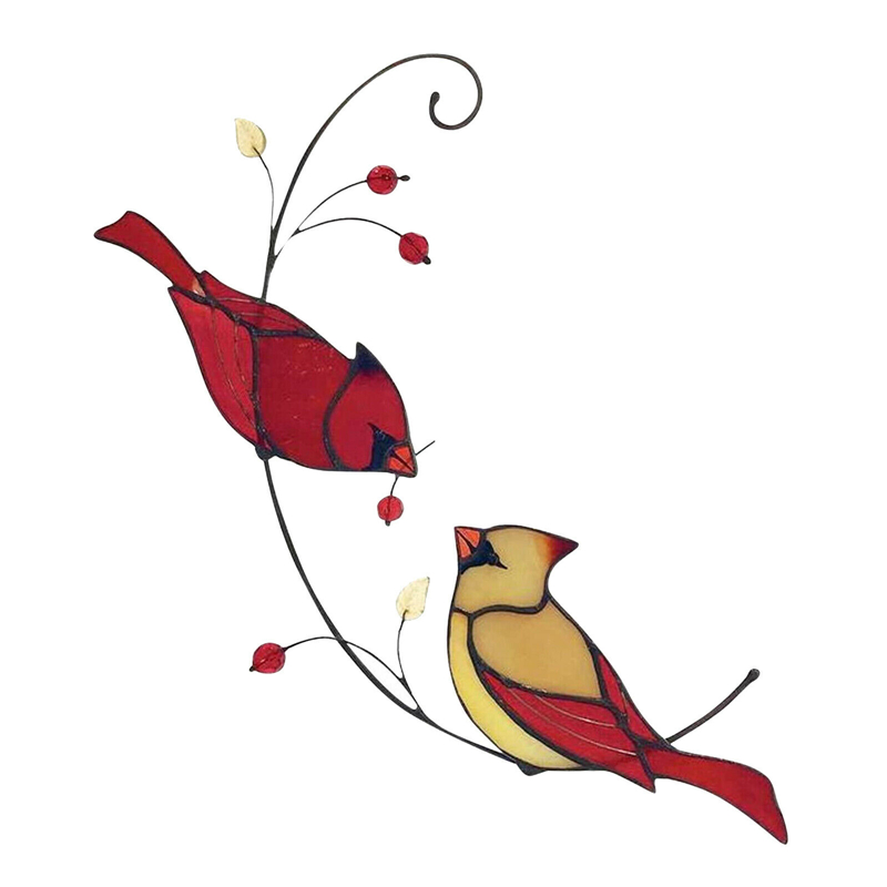 Style 2-Cardinals Birds Stained Glass Ornament Hanging Layout Home Decor Wedding Room Decor