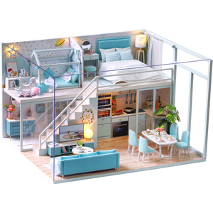 CUTEBEE DIY Dollhouse Wooden doll Houses Miniature Doll House Furniture Kit Casa Music Led Toys for Children Birthday Gift
