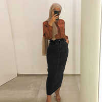 Denim Abaya Dubai Muslim Women Long Skirt Dress Turkish Islamic Clothing Pakistan Bangladesh Islam Malaysia Baju Muslim Wanita