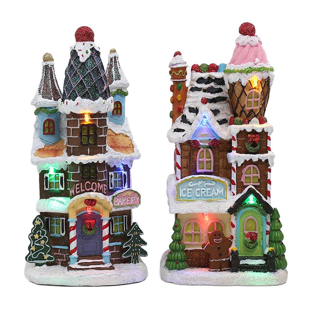 2020 рождественские светящиеся маленький дом украшения елки кукла Санта фигурка дом деревня Строительный набор для Детский подарок