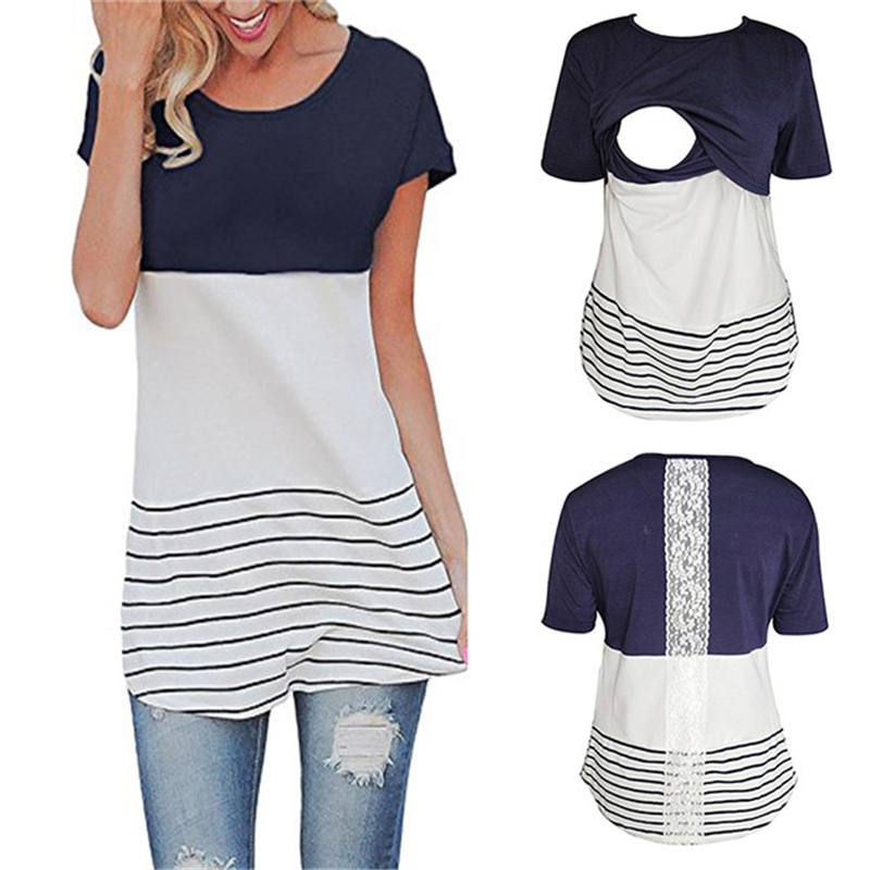 Lace Pregnant Women Nursing Clothes Striped Short Sleeve T Shirt Casual Top Breastfeeding Maternity Blouse Clothes S M L XL XXL