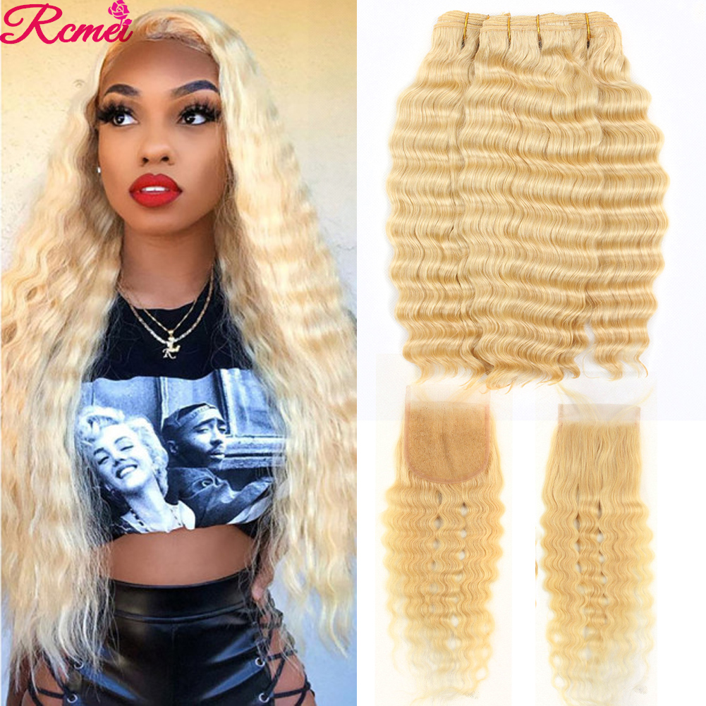 Rcmei Honey 613 Blonde Deep Wave Bundles With Closure Brazilian Blonde 3 Bundles With Closure With Baby Hair PrePlucked Remy