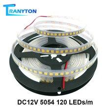 Bande lumineuse LED 5054, 120 diodes/M, non étanche, DC12V, 5M, ruban plus brillant que 5050, blanc chaud/blanc froid/rouge/bleu/vert