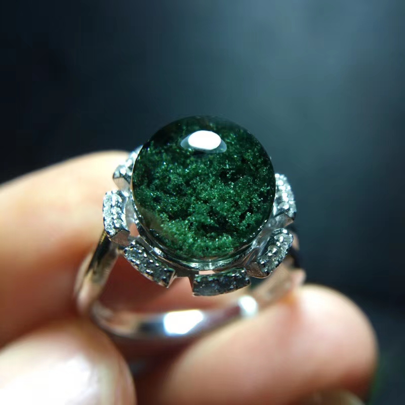 Véritable naturel vert fantôme Quartz cristal réglable anneau 9.7mm clair perle cadeau pierre 925 argent anneau rond sphère boule AAAAA