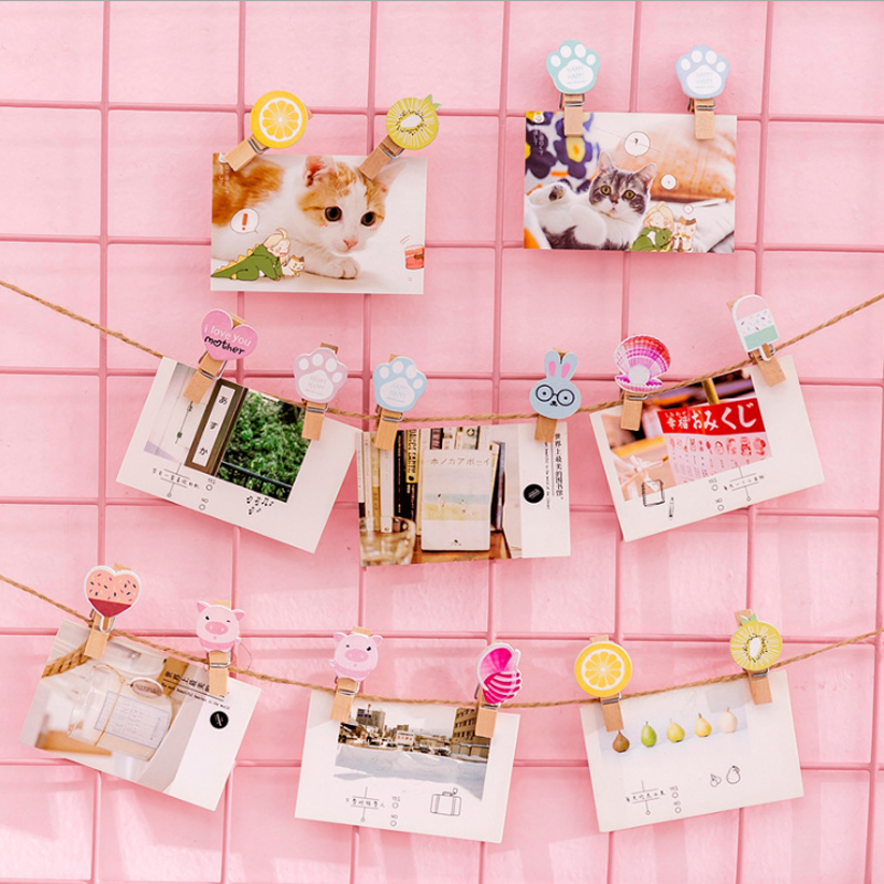 10pcs/lot Lovely Ice Cream Shell Mini Natural Wooden Photo Clips Craft Decoration Clips Pegs