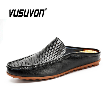 Italian Men Slippers Genuine Leather Loafers Moccasins Homme Outdoor Non-slip Men Casual Summer Mules Fashion Men Shoes 2020 2020 summer cool rhinestones slippers for male gold black loafers half slippers anti slip men casual shoes flats slippers wolf