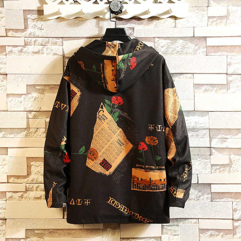Homens jaquetas de outono japonês inverno grandes bolsos jaqueta casual harajuku mistura de algodão hip hop moda streetwear casacos