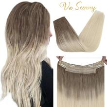 VeSunny Straight Halo Real Hair Extensions Human Hair Blonde Remy Halo Hair Extensions
