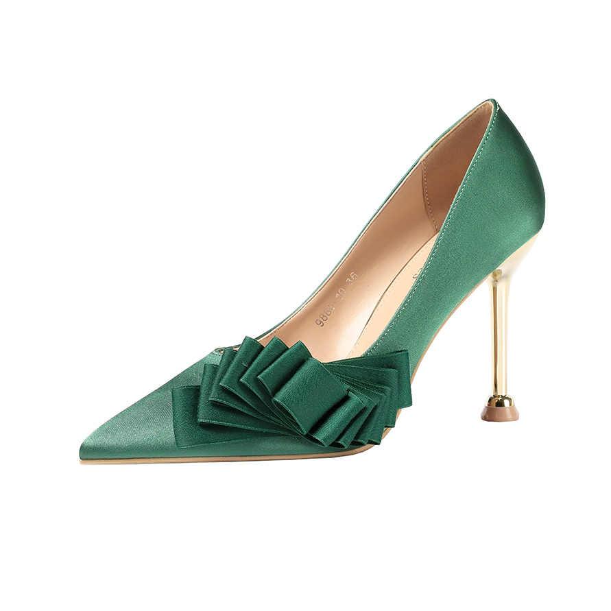 2019 Donna Fetish 10 centimetri Tacchi Alti Scarpins Scarpe Femminili verde Rosa nero Escarpins Vestito Tacchi A Spillo Da Sposa di San Valentino Pompe