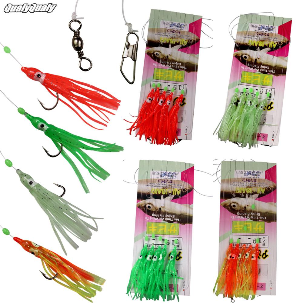 4 πακέτα Sabiki Rigs Octopus Lure γλυκού νερού θαλασσινού νερού Glow & Red Mini Squid Jig Hooks Artificial Bait Sabiki Rig With Swivel