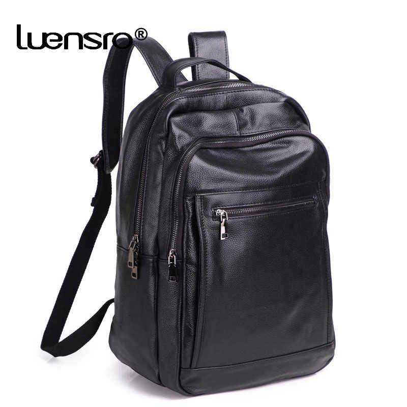 100% Echt Leer Mannen Rugzak Mannelijke 14 Inch Laptop Rugzak Reizen Rugzakken Ondoordringbare Mannelijke Mode Rugzak Schooltas Voor Mannen