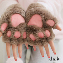 Women Cute Cat Claw Paw Plush Mittens Winter Warm Fingerless Thick Gloves Soft Bear Half Finger