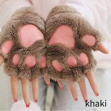Women Cute Cat Claw Paw Plush Mittens Winter Warm Fingerless Thick Glov